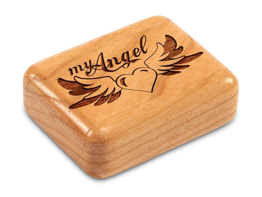 "Top View of a 2"" Flat Narrow Cherry with laser engraved image of My Angel"