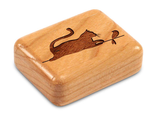 "Top View of a 2"" Flat Narrow Cherry with laser engraved image of Cat& Bird"