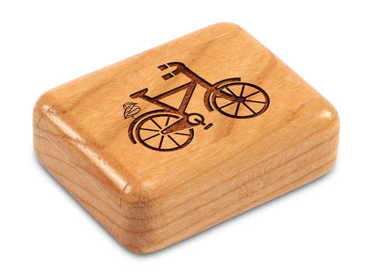 "Top View of a 2"" Flat Narrow Cherry with laser engraved image of Bike"