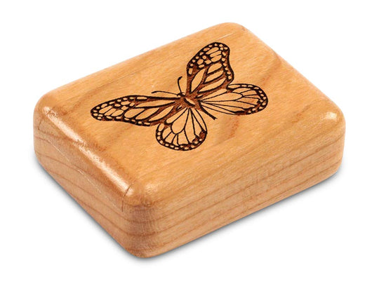 "Top View of a 2"" Flat Narrow Cherry with laser engraved image of Butterfly"