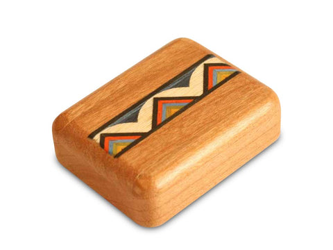 "Top View of a 2"" Flat Narrow Cherry with inlay pattern of Rainbow Zig Zag Inlay"