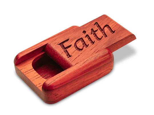 "Top View of a 2"" Flat Narrow Padauk with laser engraved image of Faith"