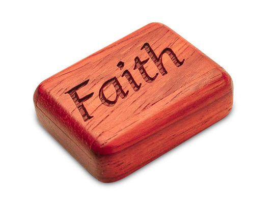"Opened View of a 2"" Flat Narrow Padauk with laser engraved image of Faith"