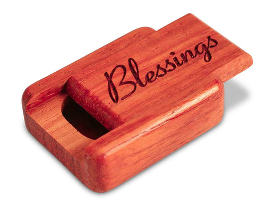 "Top View of a 2"" Flat Narrow Padauk with laser engraved image of Blessings"