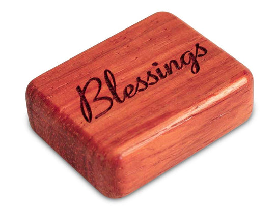 "Opened View of a 2"" Flat Narrow Padauk with laser engraved image of Blessings"