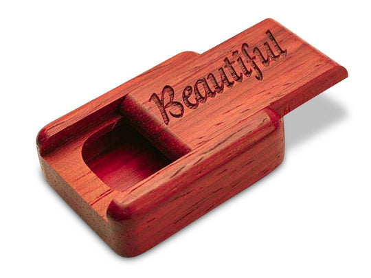 "Top View of a 2"" Flat Narrow Padauk with laser engraved image of Beautiful"