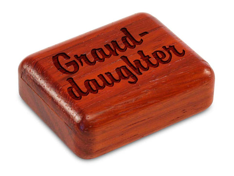 "Top View of a 2"" Flat Narrow Padauk with laser engraved image of Granddaughter"