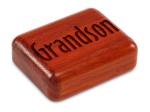 "Top View of a 2"" Flat Narrow Padauk with laser engraved image of Grandson"