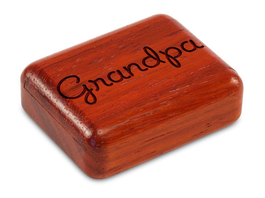 "Top View of a 2"" Flat Narrow Padauk with laser engraved image of Grandpa"