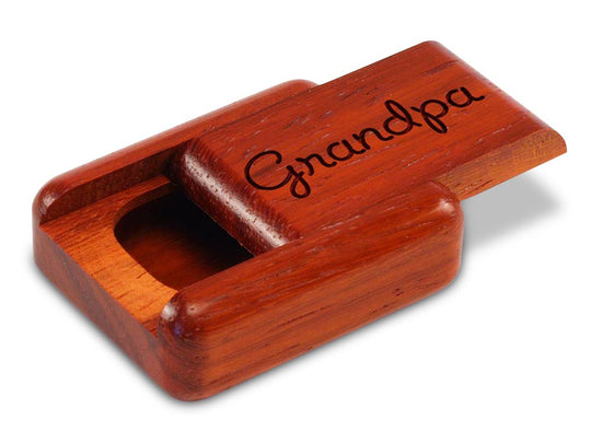 "Opened View of a 2"" Flat Narrow Padauk with laser engraved image of Grandpa"