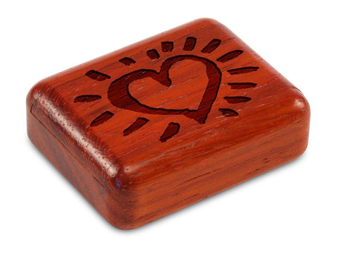 "Top View of a 2"" Flat Narrow Padauk with laser engraved image of Heart Glow"