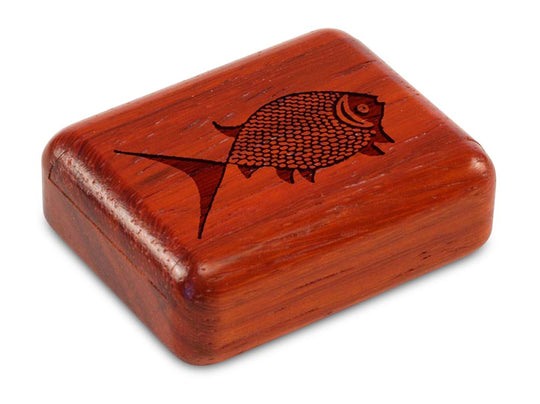 "Top View of a 2"" Flat Narrow Padauk with laser engraved image of Pisces"