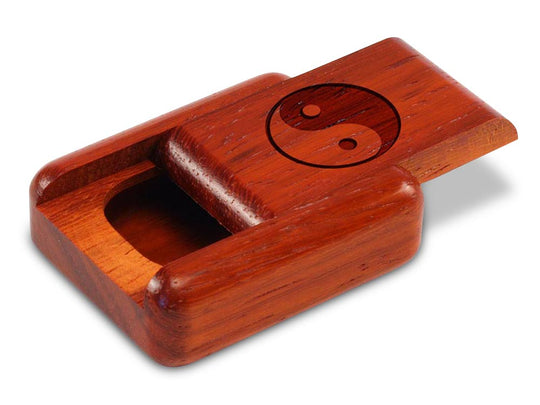 "Opened View of a 2"" Flat Narrow Padauk with laser engraved image of Yin Yang"