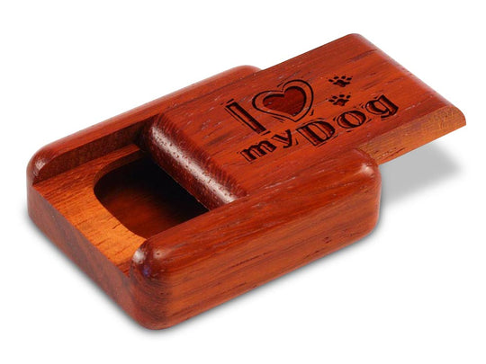 "Opened View of a 2"" Flat Narrow Padauk with laser engraved image of I Heart My Dog"