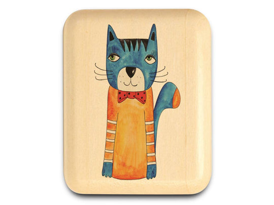 "Top View of a 2"" Flat Narrow Aspen with color printed image of Blue Cat w/Bowtie"