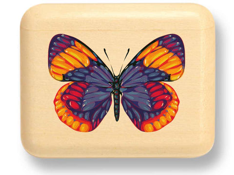 "Top View of a 2"" Flat Narrow Aspen with color printed image of Bright Butterfly"