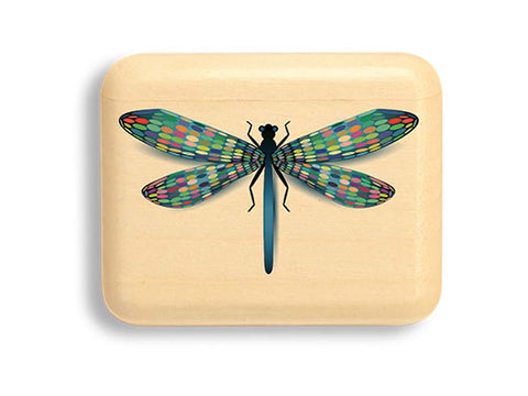 "Top View of a 2"" Flat Narrow Aspen with color printed image of Mosaic Dragonfly"