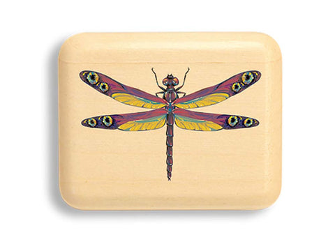 "Top View of a 2"" Flat Narrow Aspen with color printed image of Double Eye Dragonfly"
