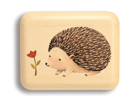 "Top View of a 2"" Flat Narrow Aspen with color printed image of Flower Hedgehog"