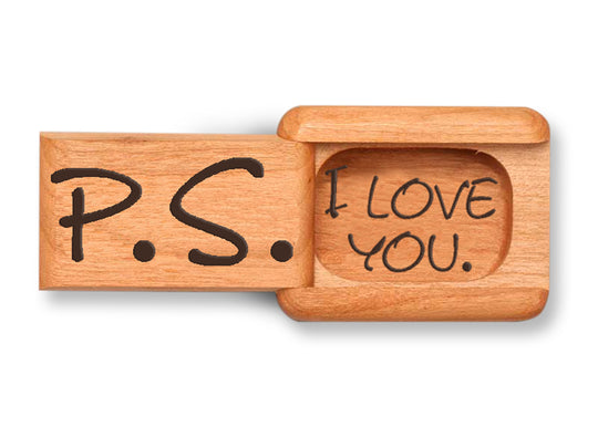 "Top View of a 2"" Flat Narrow Cherry with laser engraved image of PS I Love You"