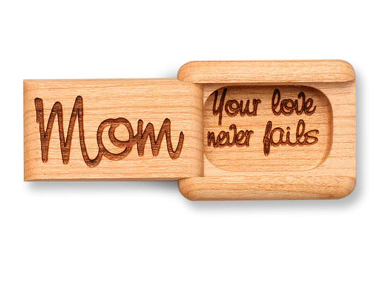 "Top View of a 2"" Flat Narrow Cherry with laser engraved image of Mom, Your Love Never Fails"