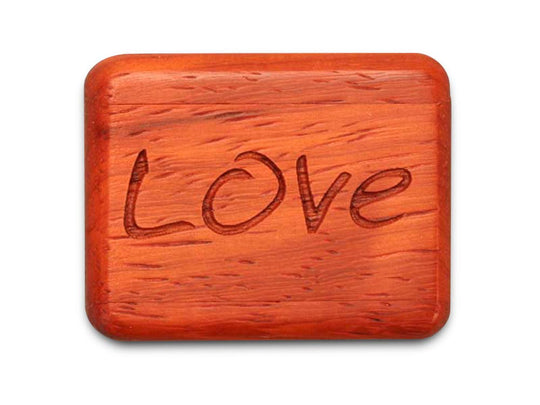"Opened View of a 2"" Flat Narrow Padauk with laser engraved image of Love You Just The Way You Are"