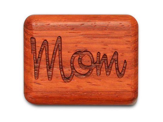 "Opened View of a 2"" Flat Narrow Padauk with laser engraved image of Mom, Your Love Never Fails"