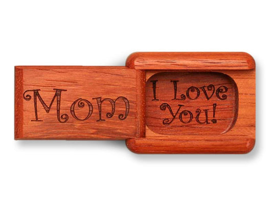 "Top View of a 2"" Flat Narrow Padauk with laser engraved image of Mom, I Love You!"