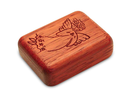 "Top View of a 2"" Flat Narrow Padauk with laser engraved image of You're An Angel"