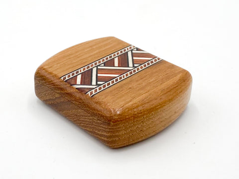 "Top View of a 2"" Flat Wide Teak with inlay pattern of Zig Zag Inlay"