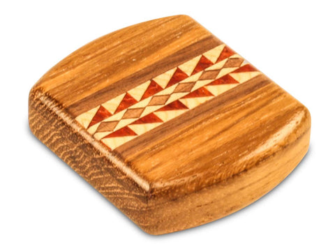 "Top View of a 2"" Flat Wide Teak with inlay pattern of Sprockets Inlay"