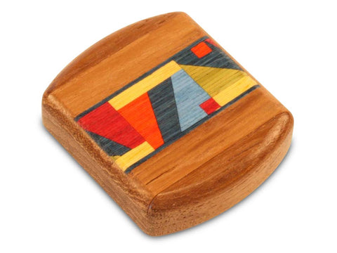 "Top View of a 2"" Flat Wide Teak with inlay pattern of Bright Geometric Inlay"