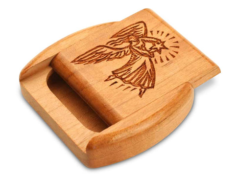"Top View of a 2"" Flat Wide Cherry with laser engraved image of Angel & Star"