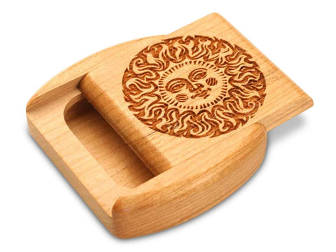 "Top View of a 2"" Flat Wide Cherry with laser engraved image of Smiling Sun"