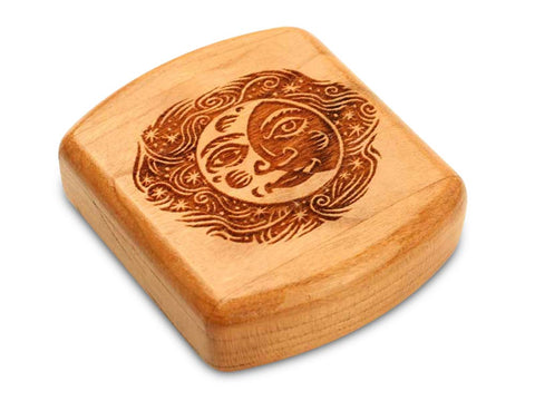 "Top View of a 2"" Flat Wide Cherry with laser engraved image of Smiling Moon"