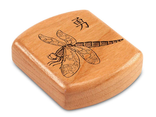 "Top View of a 2"" Flat Wide Cherry with laser engraved image of Dragonfly"