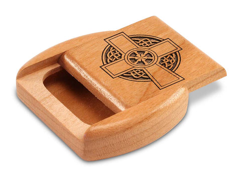 "Top View of a 2"" Flat Wide Cherry with laser engraved image of Celtic Cross Circle"