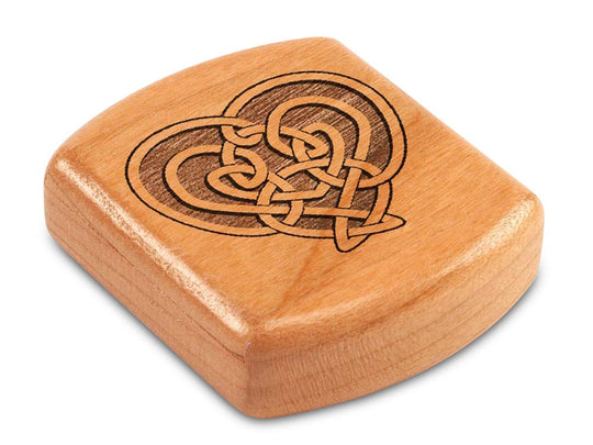 "Top View of a 2"" Flat Wide Cherry with laser engraved image of Celtic Heart"