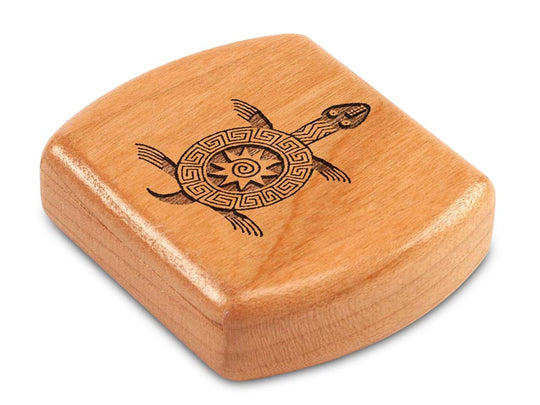 "Top View of a 2"" Flat Wide Cherry with laser engraved image of Primitive Turtle"