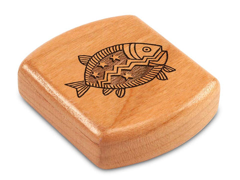 "Top View of a 2"" Flat Wide Cherry with laser engraved image of Primitive Fish"