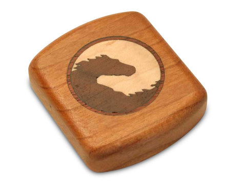 "Top View of a 2"" Flat Wide Cherry with marquetry pattern of Yin Yang Horse Marquetry"