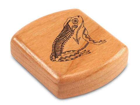 "Top View of a 2"" Flat Wide Cherry with laser engraved image of Heartline Frog"