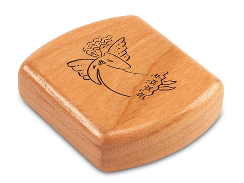 "Top View of a 2"" Flat Wide Cherry with laser engraved image of Angel Cares"