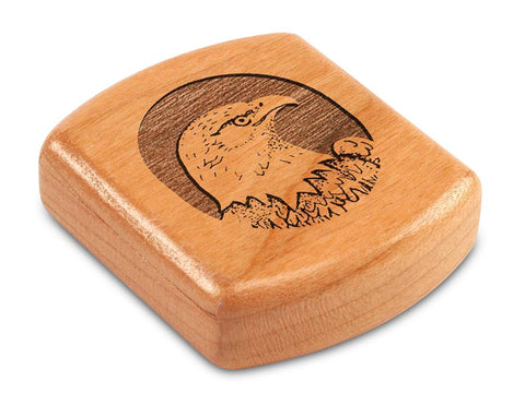 "Top View of a 2"" Flat Wide Cherry with laser engraved image of Eagle Head Circle"