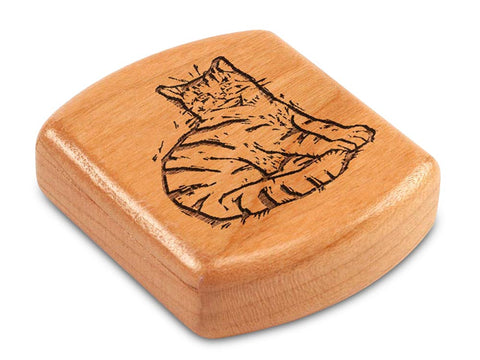 "Top View of a 2"" Flat Wide Cherry with laser engraved image of Sketched Cat"