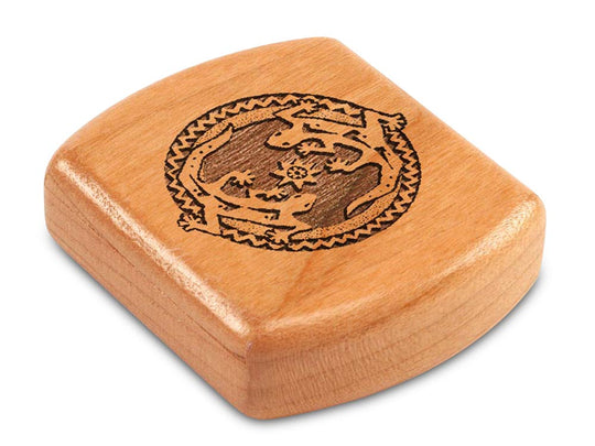 "Top View of a 2"" Flat Wide Cherry with laser engraved image of Geckos"