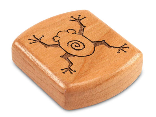 "Top View of a 2"" Flat Wide Cherry with laser engraved image of Tree Frog"