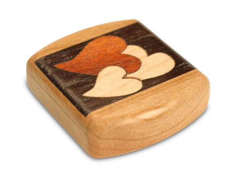 "Top View of a 2"" Flat Wide Cherry with inlay pattern of  with marquetry pattern of Heart Marquetry Dark"