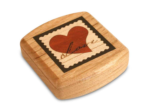 "Top View of a 2"" Flat Wide Cherry with marquetry pattern of Love Stamp Marquetry Dark"