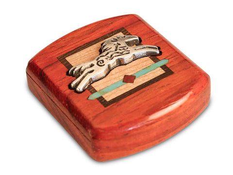 "Top View of a 2"" Flat Wide Padauk with inlay pattern of Horse Spirit Silverscape"